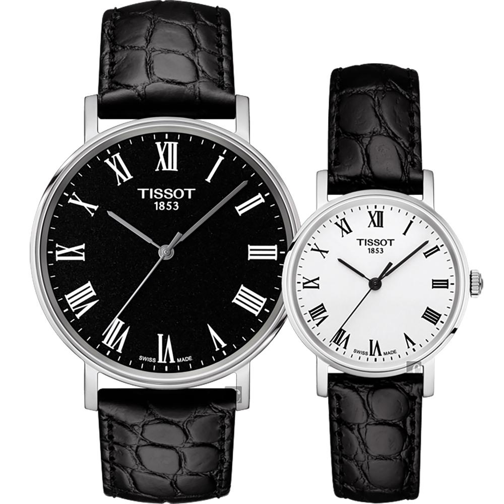 TISSOT 天梭 Everytime 羅馬經典對錶-黑+銀/38+30mm