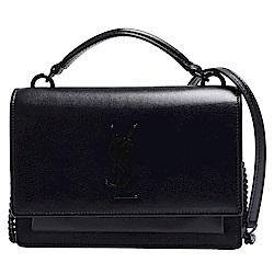 YSL SUNSET系列經典金屬黑色LOGO小牛皮鍊帶磁釦肩/斜背包(黑色)