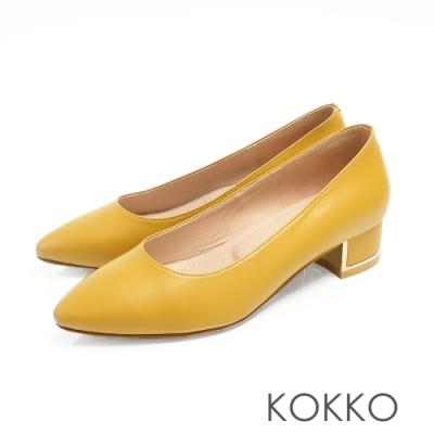 KOKKO - OL最愛尖頭金屬軟墊粗跟鞋 - 乳酪黃色