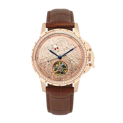 Manlike 曼莉萊克 豪華龍王限量機械錶 玫瑰金 金面 咖啡色帶