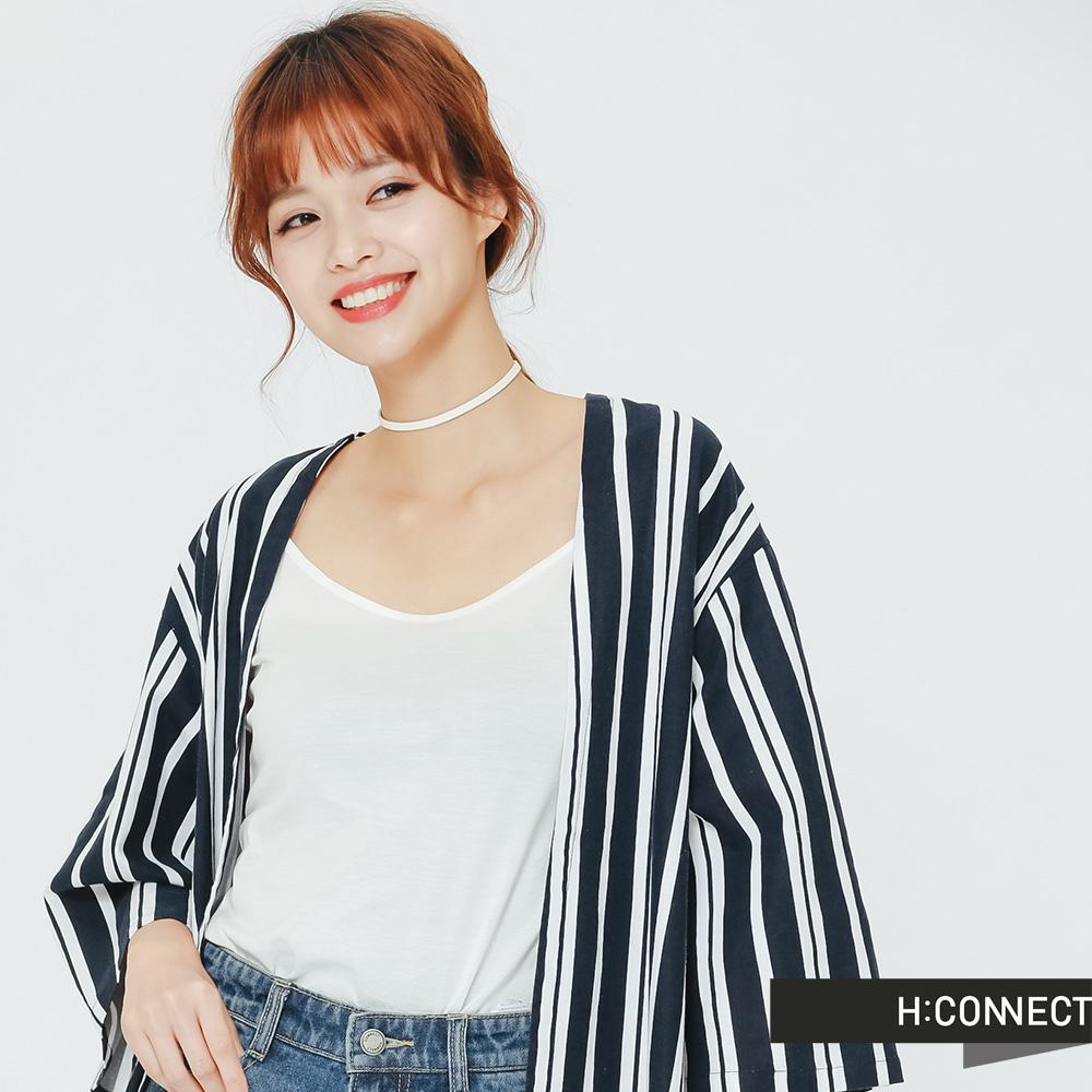 H:CONNECT 韓國品牌 女裝 知性感直條紋洋裝-藍(快) @ Y!購物