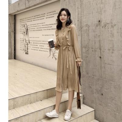 2F韓衣-韓系氣質荷葉邊腰綁帶連身裙-新-杏(S-M)