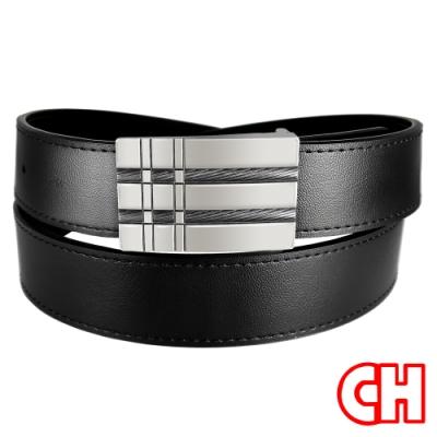 CH-BELT新都會品味休閒正式紳士扣皮帶腰帶(黑)