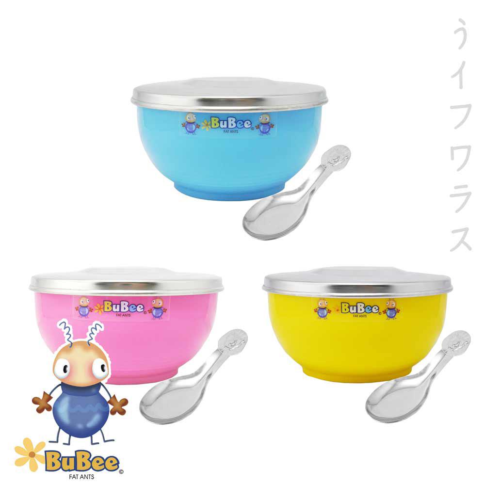 豆豆316雙層隔熱碗-不鏽鋼蓋-11.5cm-3組入