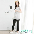 betty's貝蒂思 質感素色腰間鬆緊長褲(黑色)