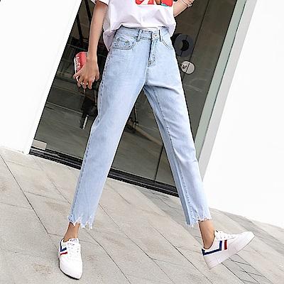 ALLK 直筒9分牛仔褲 淺藍色(尺寸27-31腰)