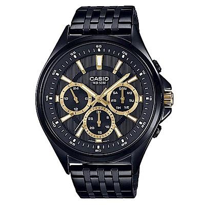 CASIO 經典黑三針三眼不鏽鋼錶(MTP-E303B-1)-金時刻/47.5mm