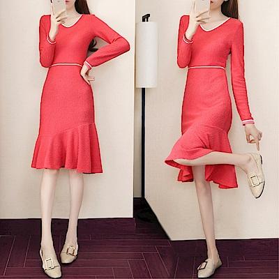 DABI 韓國風V領修身魚尾紅色針織長袖洋裝