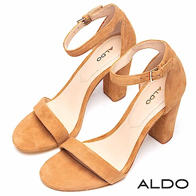 ALDO 原色真皮一字繫踝釦帶粗高跟涼鞋~氣質棕色