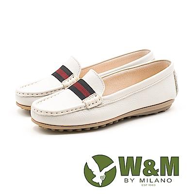 W&M 織帶可水洗莫卡辛鞋 女鞋-米白(另有藏青)