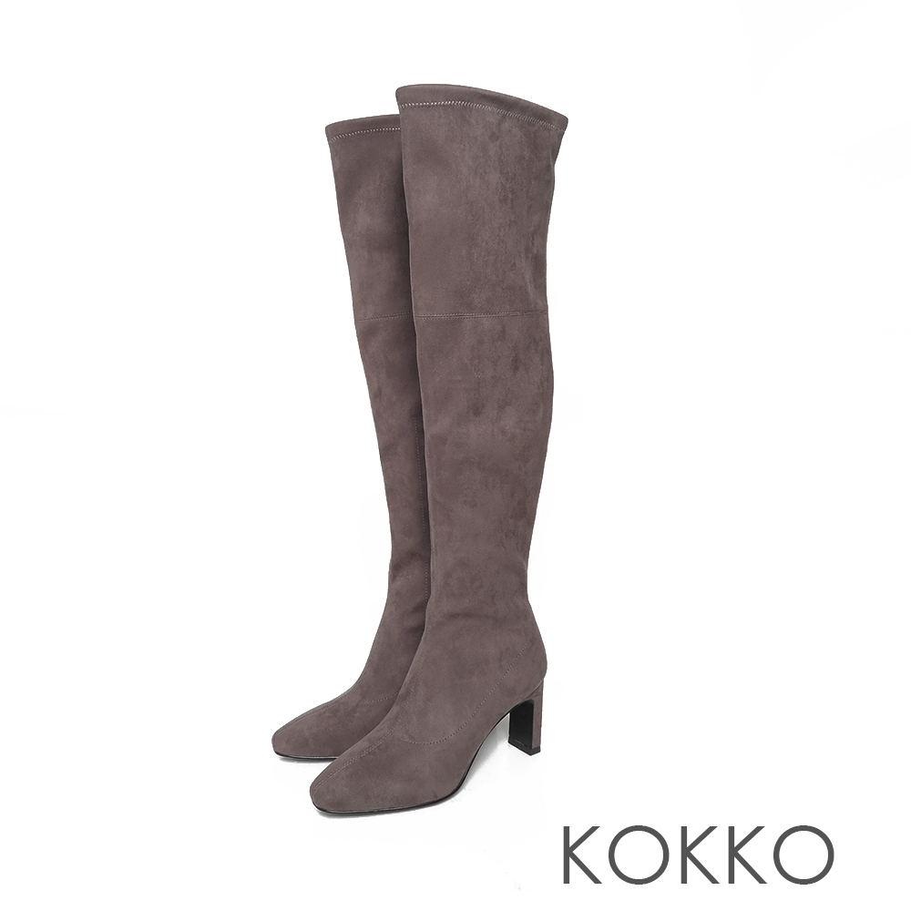 KOKKO顯瘦感方頭拉鍊扁高跟過膝襪靴霧面灰