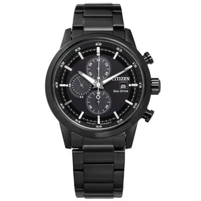 CITIZEN 亞洲限定 光動能 三眼計時 日期視窗 防水 不鏽鋼手錶-鍍黑/43mm