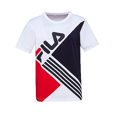 FILA 男款吸濕排汗圓領T恤-白色 1TET-1442-WT