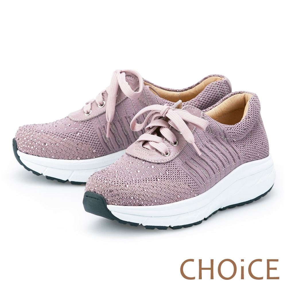 CHOiCE 輕量彈力燙鑽綁帶 女 休閒鞋 粉紫