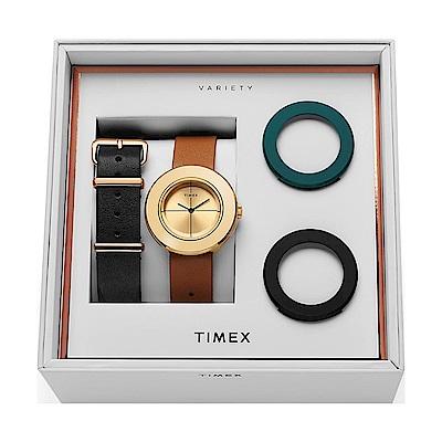 TIMEX 天美時 復刻系列 限量手錶禮盒組-金x黑x咖啡/34mm