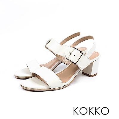KOKKO- 大勢女孩最愛後帶粗跟涼鞋 - 貴妃白