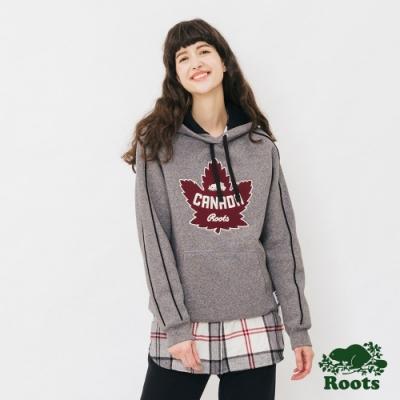 女裝ROOTS - 加拿大國慶刷毛連帽上衣-灰色