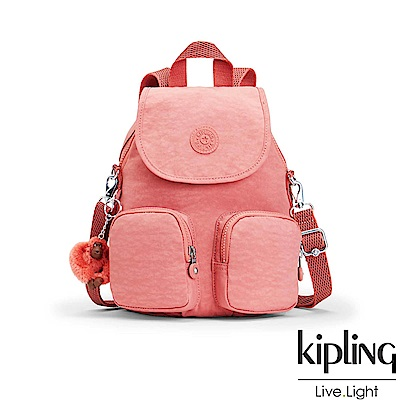 Kipling薔薇粉掀蓋後背包