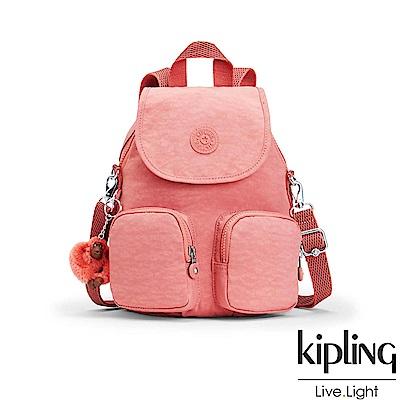 Kipling微甜薔薇粉掀蓋後背包-FIREFLY UP