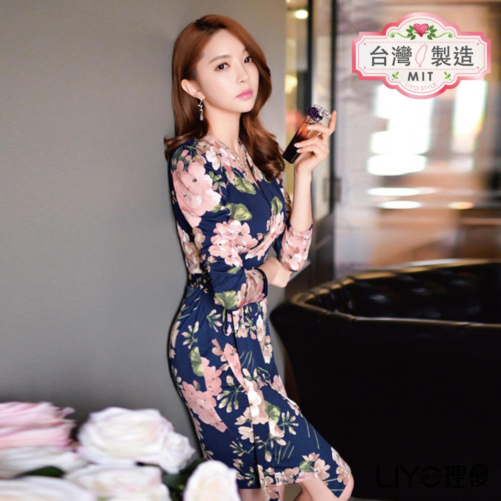 LIYO理優MIT古典印花綁帶洋裝