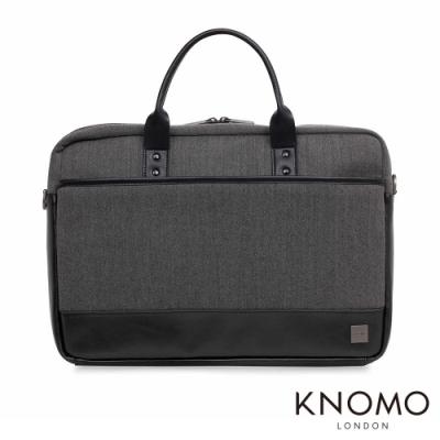 KNOMO 英國 Princeton 簡約商務電腦公事包 - 黑灰 15.6 吋
