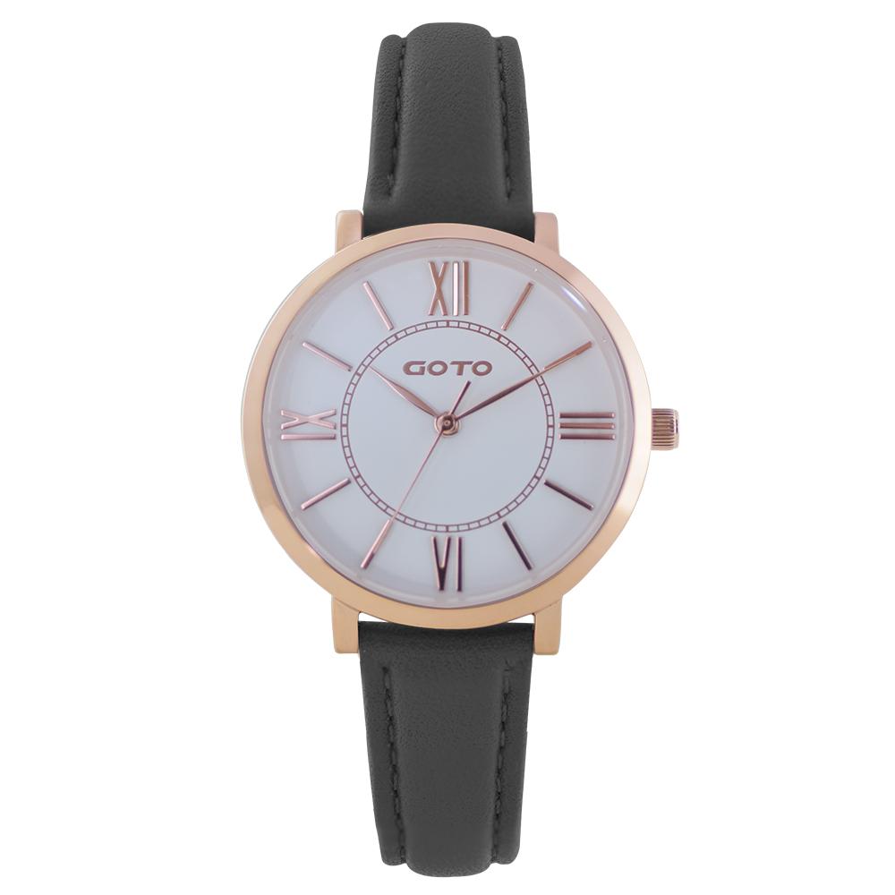 GOTO浪漫小資女精品時尚手錶-IP玫白x黑皮/33mm