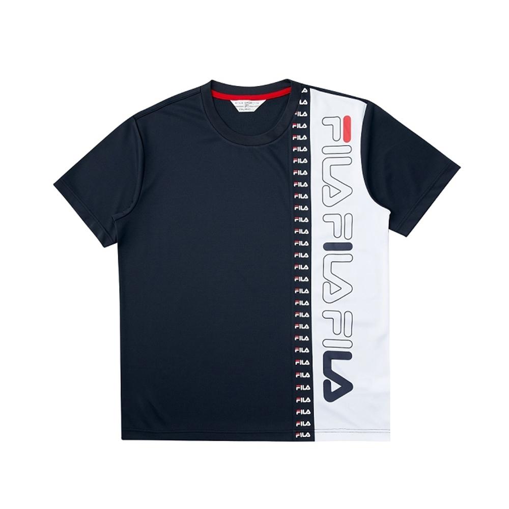 FILA 吸濕排汗短袖圓領T恤-丈青 1TEV-1470-NV