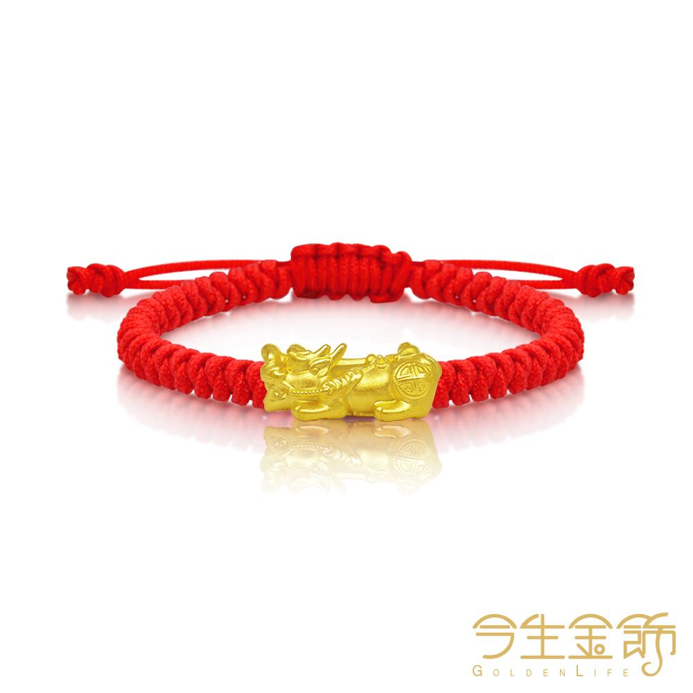 今生金飾 迷你貔貅串珠  純黃金彌月手環