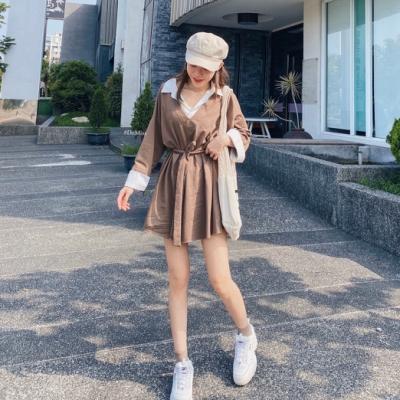 DoMiss假兩件襯衫式 綁帶衛衣洋裝(3色)