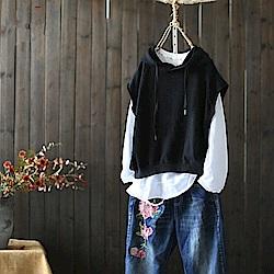 休閒連帽上衣兩件套T恤背心/設計所在 Y4644