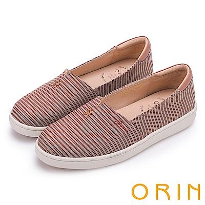 ORIN 引出度假氣氛 LOGO刺繡條紋布面平底便鞋-咖啡
