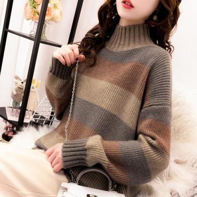 初色  半高領寬條紋長毛衣-共2色-(F可選)