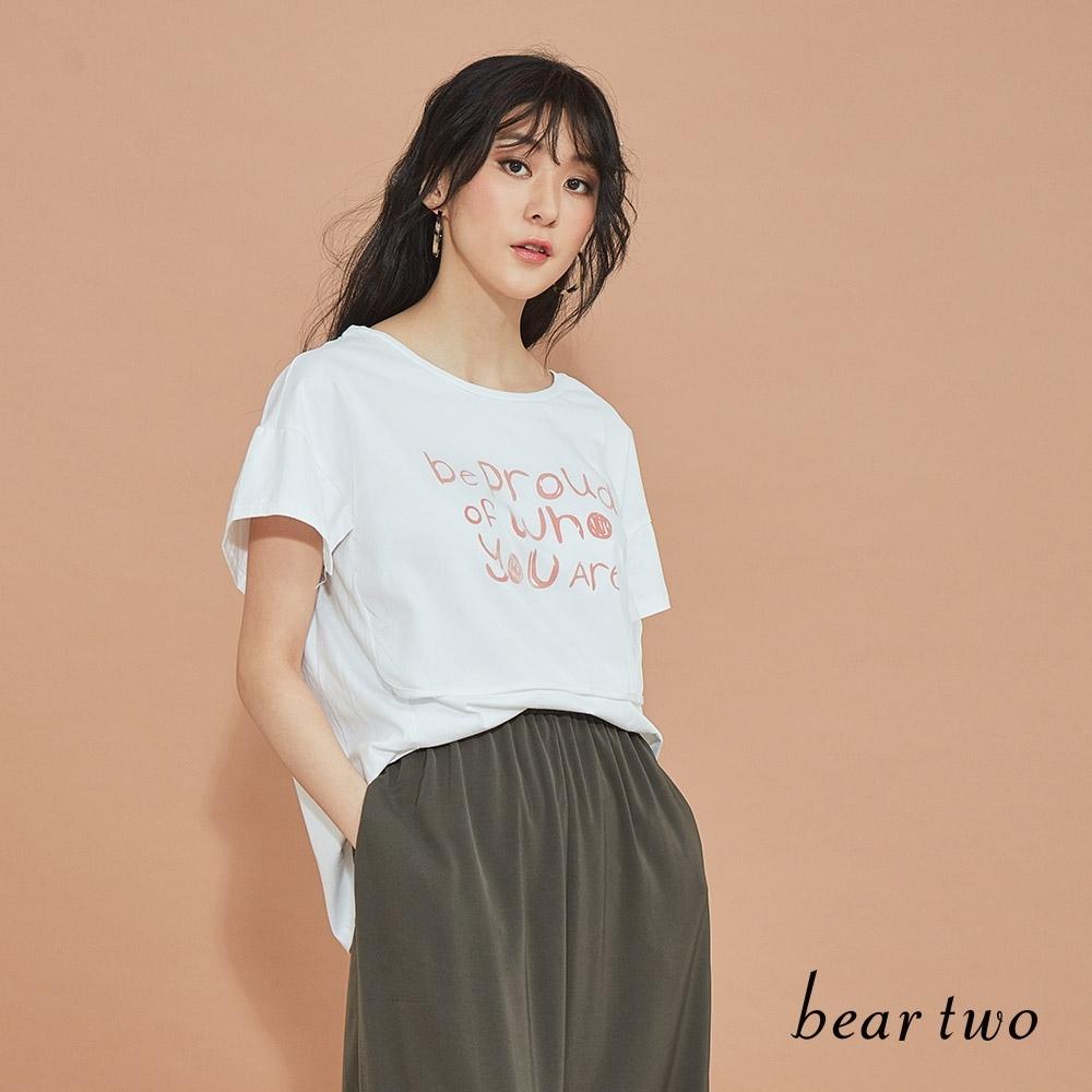 beartwo-主題標語造型上衣-白