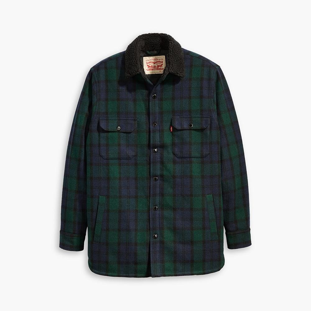 Levis 男款羊毛外套/Oversie寬鬆版型/復古藍綠格紋/Sherpa棉花絨領