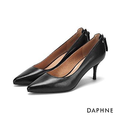 達芙妮DAPHNE 高跟鞋-拉鍊鉚釘百搭尖頭高跟鞋-黑