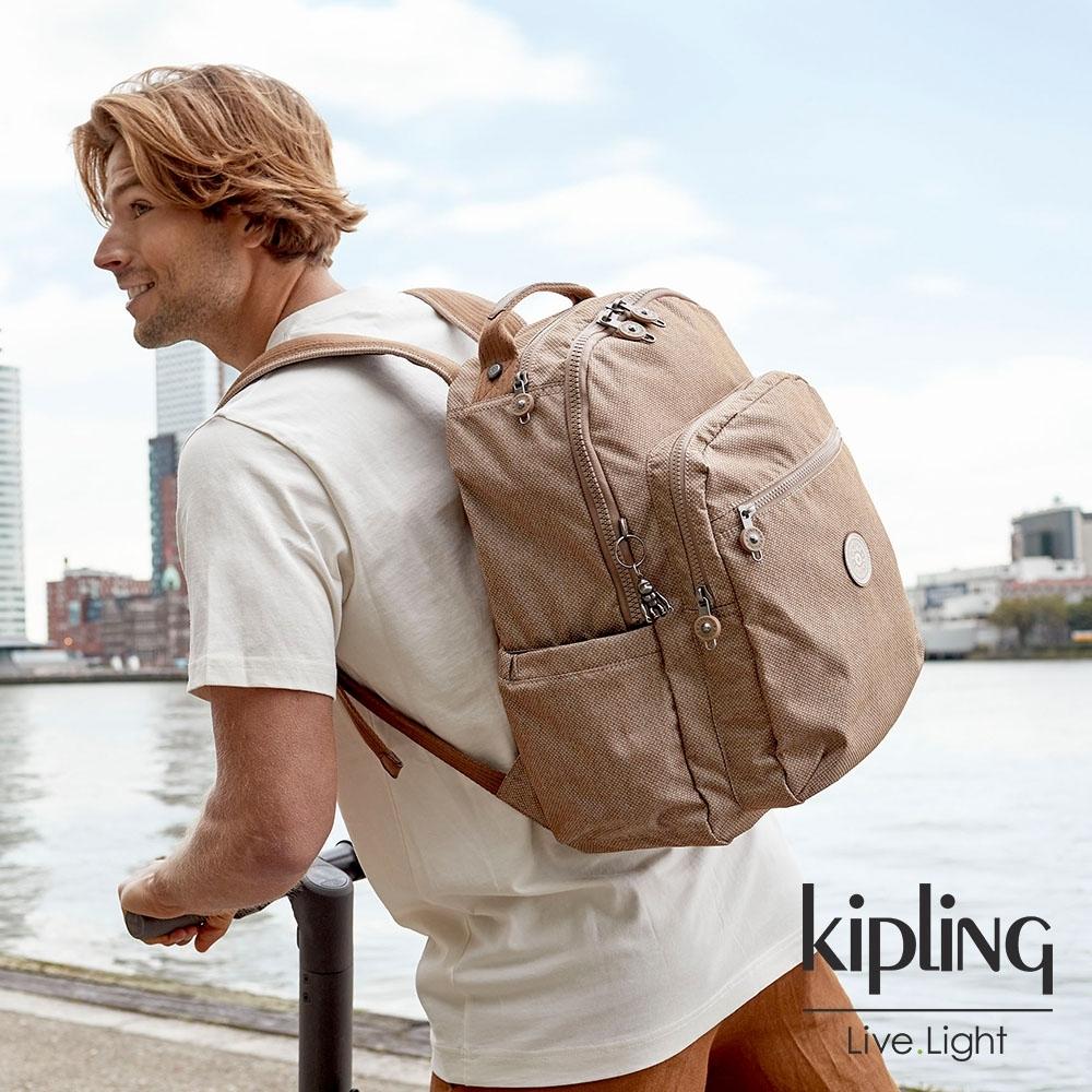 Kipling 烏龍拿鐵色機能手提後背包-SEOUL