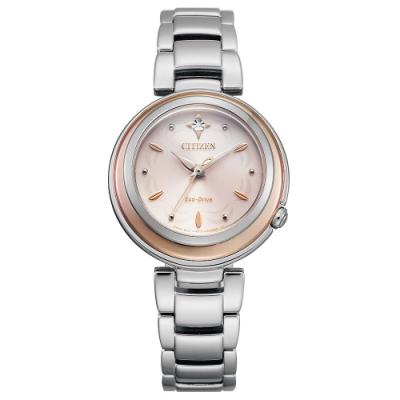 CITIZEN 星辰L系列光動能真鑽手錶EM0589-88X-粉X玫瑰金/30mm