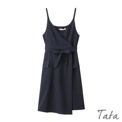 交叉V領不規則裙擺洋裝 TATA-(M/L)