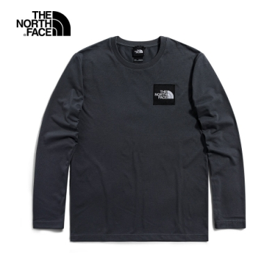 The North Face北面UE男款灰色吸濕排汗圓領長袖T恤|4U9Y174