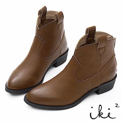 iki2 復古擦色牛仔短靴-咖