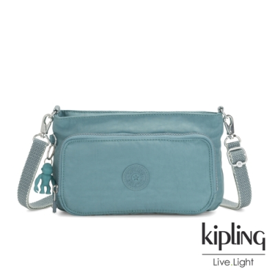 Kipling 冰霜綠前袋拉鍊長形肩背包-MYRTE