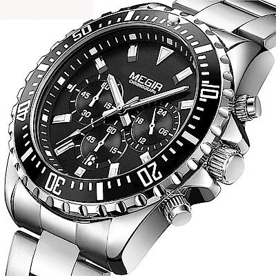 美國熊 日本石英機心 真三眼計時 日期顯示 水鬼運動風格腕錶