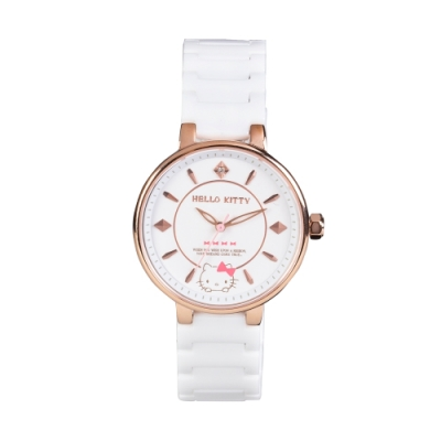 HELLO KITTY 凱蒂貓優雅陶瓷手錶-白/33mm