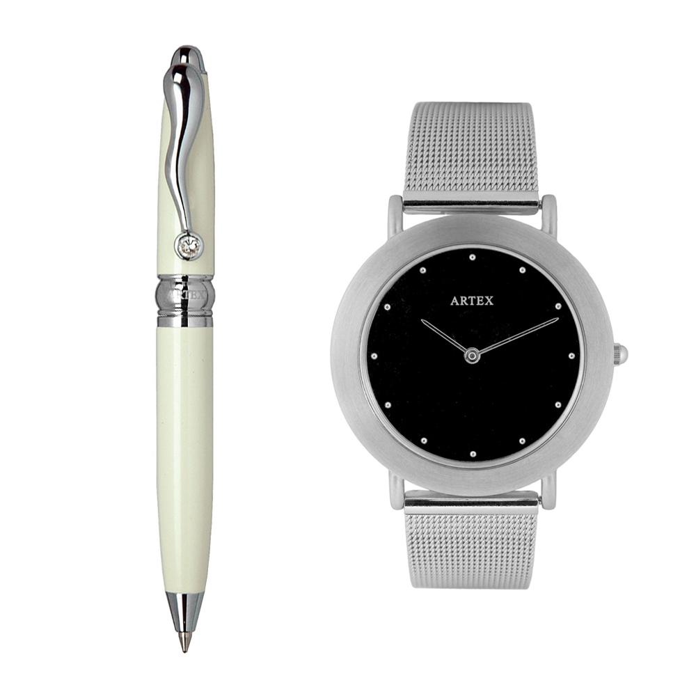 ARTEX 方晶隨行白管+8204不鏽鋼手錶-米蘭錶帶/銀36mm