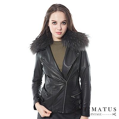 INTIMATUS真皮 奢華貉毛貂毛斜拉鍊頂級小羊皮皮衣 經典黑