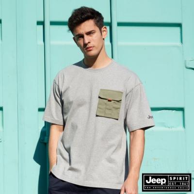 Jeep 男裝 極簡潮流百搭素面短袖T恤-灰色