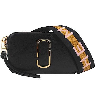 MARC JACOBS Snapshot 防刮牛皮品牌字母LOGO織帶相機包(黑色)