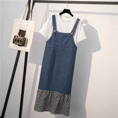 純白圓領五分袖+吊帶拼接牛仔裙XL-4XL-KVOLL