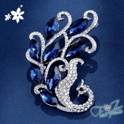 iSFairytale伊飾童話 高貴鳳凰 水晶鑽別針胸針 銀白藍