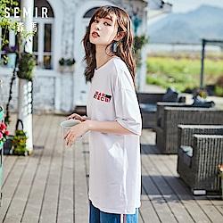 SEMIR森馬-韓系長版俏皮印花短袖T恤-女